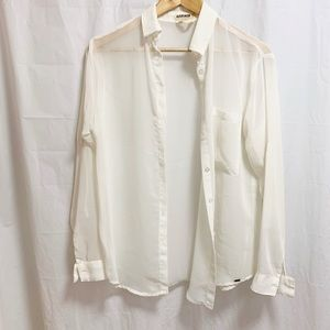 Garage Sheer White Chiffon Blouse Top.